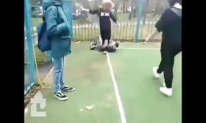 College boy gets his ass kicked by a girl