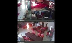 Lunatic sets himself on fire