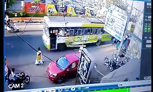 Bus crashing several motorcycle drivers