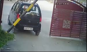 Car accident caught on a security camera