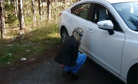 She stopped to poop in white panties
