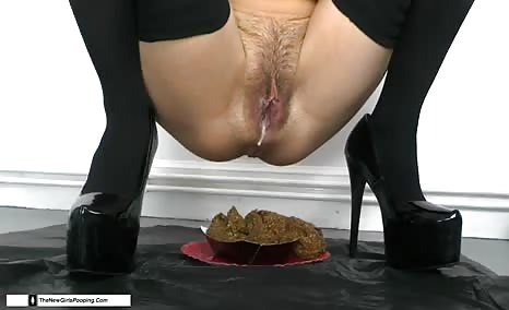 Hairy babe shitting on a plate