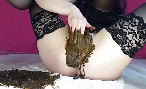 Brunette model masturbating