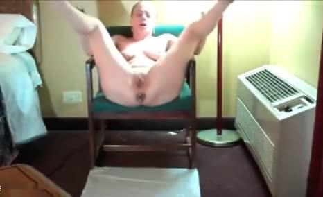 Hot blonde masturbates with fresh shit