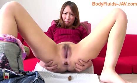Japanese girl shits a Huge Turd