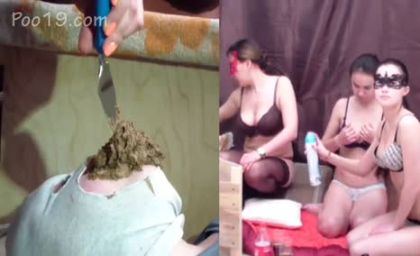 Three hot girls poop on masked slave