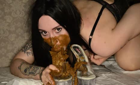 Dark haired babe smears poop on perfect pussy